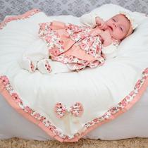 Saída de Maternidade Menina Luxo Floral Rosê 05 Peças - Sônia enxovais