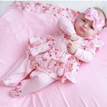 Saída de Maternidade Menina Luxo Kate Floral Rosa 04 Peças - tieloy