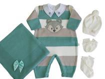 Saída de Maternidade Menino 6 Peças Super Luxo Com Bordado - Verde Maré - Felicitá Baby Store