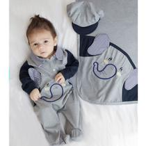 Saída de Maternidade Menino Elefante Mescla Cinza - Tieloy