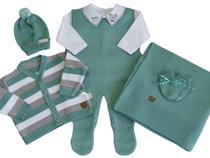 Saída de Maternidade Menino Jardineira Ursinho 6 Peças Super Luxo - Verde Maré - Felicitá Baby Store