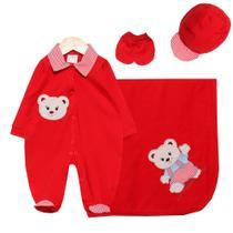Saída de Maternidade Menino Luxo Ursinho Baby Vermelho - Tieloy