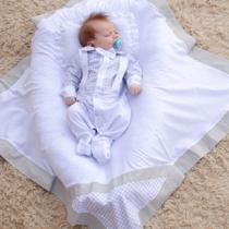 Saída de Maternidade Menino Suspensório Branco 04 Peças - Sônia enxovais