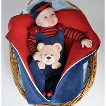 Saída de Maternidade Menino Urso Marinho com Porta Bebê 04 Peças - tieloy