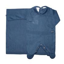 Saída de Maternidade Tricot Azul Marinho 2 Peças - Fofinho
