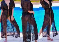 Saida de praia longa preto moda vestido - So Para Ladies
