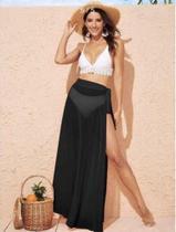Saida De Praia Saia Longa Envelope Com cinto Simples Encobrimento & Vestido para Praia - Mênfis