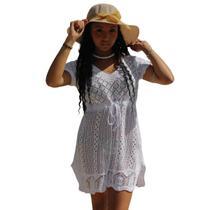 Saida de praia tipo vestido manga curta - branco - Precoimporta