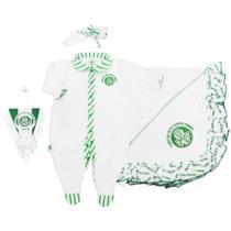 Saída maternidade revedor palmeiras luxo manta suedine menina branco -