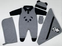 Saida Maternidade Urso Panda (Cinza/Preto) - NANA LOBELA