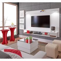 Sala de Estar com Painel, Mesa de Centro e 2 Mesas Laterais Olímpia Artely Branco -