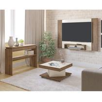 Sala de Estar com Painel para TV até 40 Polegadas Mesa de Centro Saara e Aparador Creta Artely Pinho/Off White -