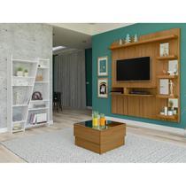 Sala de Estar com Painel para TV até 50 Polegadas Estante 10 Nichos e Mesa de Centro com Tampo Espelhado Artely Freijó/Branco -