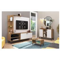 Sala de Estar Completa com Estante, Buffet e Mesa de Centro Decibal Naturalle/Branco Off -