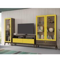 Sala de Estar Completa com Rack, Cristaleira 1 Porta e Cristaleira 2 Portas Retrô Madri Genialflex Amarelo/Demolição -