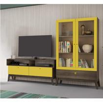 Sala de Estar Completa com Rack e Cristaleira Retrô Madri Siena Móveis Amarelo -