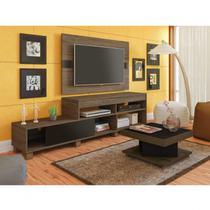Sala de Estar Completa com Rack, Painel e Mesa de Centro Requinte Espresso Móveis Amêndoa/Preto -