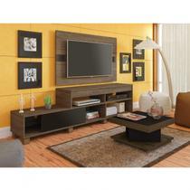 Sala de Estar Completa com Rack, Painel e Mesa de Centro Requinte Siena Móveis Amêndoa/Preto -