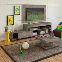 Sala de Estar Completa com Rack, Painel, Mesa de Centro e Mesa Lateral Canela/Amarelo - Artely