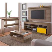 Sala de Estar Completa com Rack, Painel para TV até 47 Polegadas, Mesa de Centro e Aparador Canela/Amarelo - Artely
