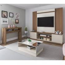 Sala de Estar Completa Estante para TV até 65 Polegadas Aparador, Mesa de Centro Espelhada Artely Pinho com Off WHite -