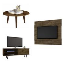Sala de Estar Completa Rack Retrô, Mesa de Centro e Painel para TV 42 Polegadas Espresso Móveis Marrom -