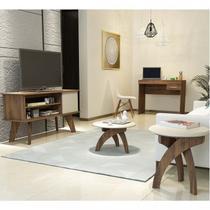 Sala de Estar Rack Frank, Mesa de Centro Jade, Mesa de Apoio Jade e Mesa para Notebook Cooler Artely Pinho/Off White -