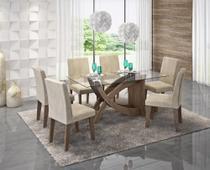 Sala De Jantar C/ Mesa e 6 Cadeiras Milena Marrocos/Sued Bege - Cimol