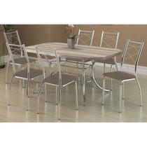 Sala de Jantar Carraro Mesa 1507+6 Cadeiras Cro/Conhaque -