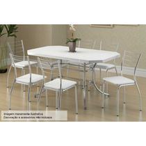 Sala de Jantar Carraro Mesa 1507+6 Cadeiras Crom/Branco -