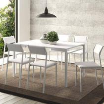 Sala de Jantar Carraro Mesa 1526+6 Cadeiras Branco -