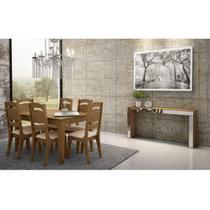 Sala de Jantar com Mesa 6 Cadeiras e Aparador Ágata Dalla Costa Nobre -