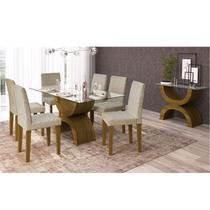 Sala de Jantar Completa com Mesa, 6 Cadeiras e Aparador Siena Móveis Marrom/Bege -