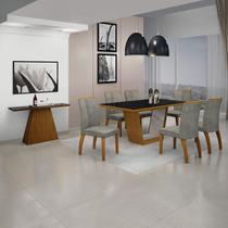 Sala de Jantar Completa com Mesa e Aparador com Tampo MDF/Vidro e 6 Cadeiras Imbuia/Preto - Leifer