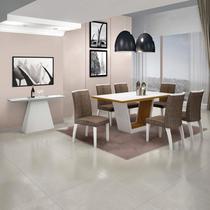 Sala de Jantar Completa com Mesa Tampo de Vidro 6 Cadeiras e Aparador Leifer Branco/Linho Marrom -