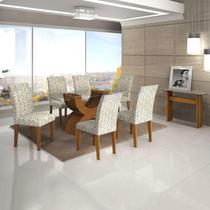 Sala de Jantar Completa com Mesa Tampo de Vidro, 6 Cadeiras e Aparador Leifer Imbuia -