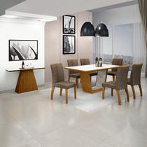 Sala de Jantar Completa com Mesa Tampo de Vidro 6 Cadeiras e Aparador Leifer -