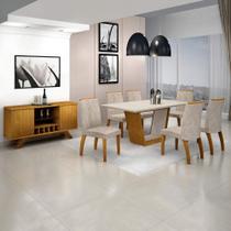Sala de Jantar Completa com Mesa Tampo MDF/Vidro, 6 Cadeiras e Buffet com Adega Leifer Imbuia/Off - Leifer Móveis