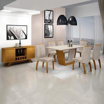 Sala de Jantar Completa com Mesa Tampo MDF/Vidro, 6 Cadeiras e Buffet com Adega Leifer Imbuia/Off White -