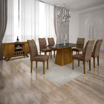 Sala de Jantar Completa com Mesa Tampo MDF/Vidro, 6 Cadeiras e Buffet Leifer Canela/Preto -
