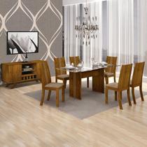 Sala de Jantar Completa com Mesa Tampo Vidro, 6 Cadeira e Buffet Leifer Canela/Animale Capuccino -