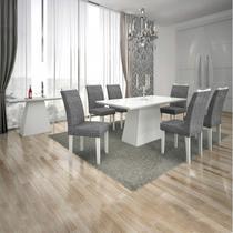 Sala de Jantar Completa com Mesa Tampo Vidro, 6 Cadeiras e Aparador Leifer Branco/Linho Cinza -