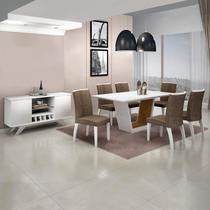Sala de Jantar Completa com Mesa Tampo Vidro 6 Cadeiras e Buffet Leifer Branco/Linho Marrom -