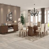 Sala de Jantar Completa MadeiraMadeira com Mesa, 6 Cadeiras e Buffet 382055 Bege/Marrom - Móveis Lopas