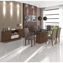 Sala de Jantar Completa MadeiraMadeira com Mesa, 6 Cadeiras e Buffet 382073 Marrom - Móveis Lopas