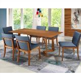 Sala de jantar contempo mesa 180 cm 6 cadeiras - laminado em carvalho - madeira eucalipto - sunset - Seiva