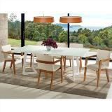 Sala de jantar contempo mesa 200 cm c/ 6 cadeiras soho  - madeira eucalipto - branco/sunset - Seiva