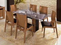 Sala de Jantar Evidence com Tampo de Vidro  - com 6 Cadeiras Rudnick