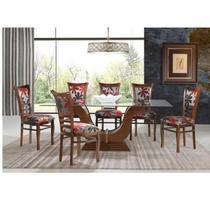 Sala de jantar grécia com mesa 200cm e 6 cadeiras - madeira eucalipto - castanho - Seiva