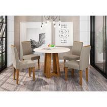 Sala de Jantar Isabela Mesa Redonda Ype Vidro Off White e 4 Cadeiras Veludo Linho Bege TL13 - New Ceval -
